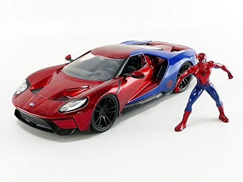Jada Toys Marvel Spider-Man Figure & 2017 Ford GT Metas Diecast Inspired by Collectible Car Vehicle, Red and Blue, 1:24 Scale -  99725