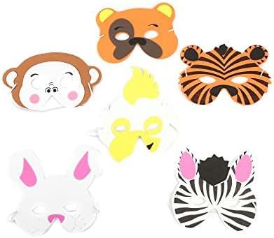 Fun Central AU583 12ct Kids Foam Zoo Animal Face Masks, Animal Mask, Animal Masks, Anime Mask, Animal Masks for Women, Anime Face Mask, Anime Cosplay Mask, Animal Masks for Kids - Assorted