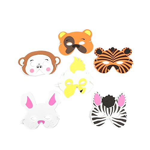 Fun Central AU583 12ct Kids Foam Zoo Animal Face Masks, Animal Mask, Animal Masks, Anime Mask, Animal Masks for Women, Anime Face Mask, Anime Cosplay Mask, Animal Masks for Kids - Assorted -