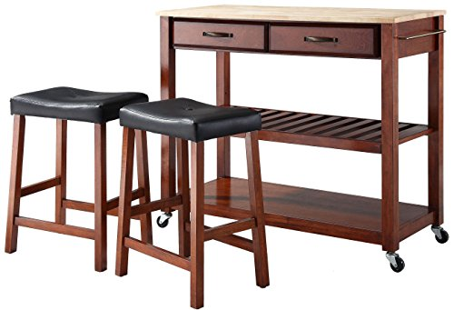 Crosley Furniture Portable Kitchen Cart with Natural Wood Top and 24-inch Upholstered Saddle Stools - Classic (Cherry Kitchen Kitchen Cart)