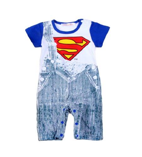 Baby Boy Super Heros Strap Jeans Print Romper Onesie (90/12-18 Months, Superman)