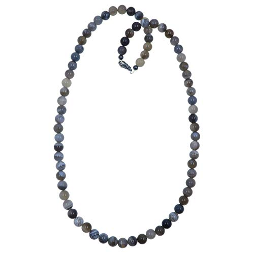 SatinCrystals Agate Botswana Necklace 7mm Boutique Silvery Gray Banded Gemstone Round Beaded Handmade Healing B02 ()
