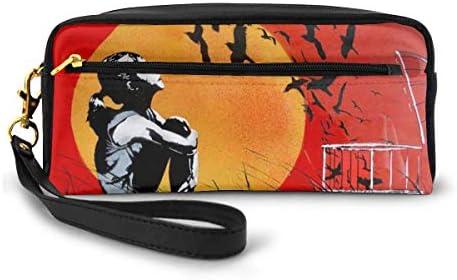 長財布 ポーチ Banksy バンクシー ストリート レザーバッグ 化粧バッグ おしゃれ かわいい 小型バッグ ペンケース クラッチポーチ メイクポーチ