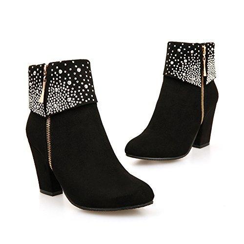 MEOTINA Women Ankle Boots High Heels Shoes Crystal Zipper Short Boots (7.5, Black)