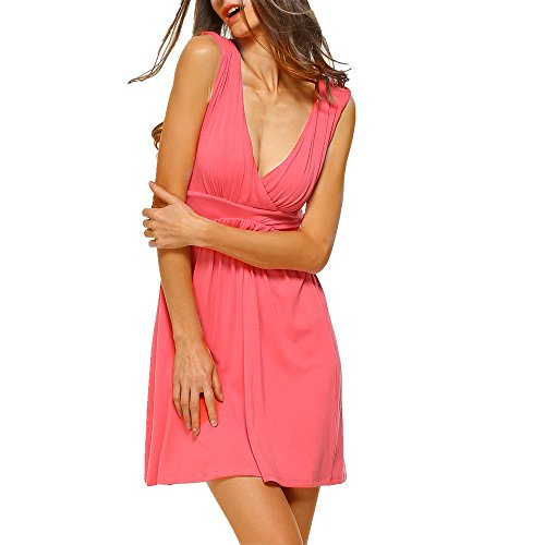 HARHAY Women's Sleeveless V-neck Summer Sun Dress Coral M