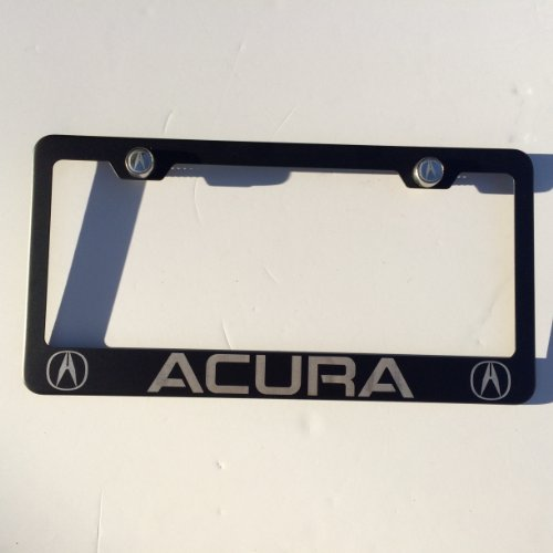 """Matte Black Laser Engraved Acura Stainless Steel USA License Plate Frame With Engraved Steel Logo Screw Cap Combo 12.25"""" x 6.5"""""""