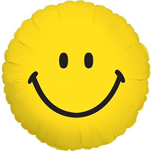 Yellow Smiley Face Traditional 18 Inch Mylar Balloon Bulk (5 Pack) -