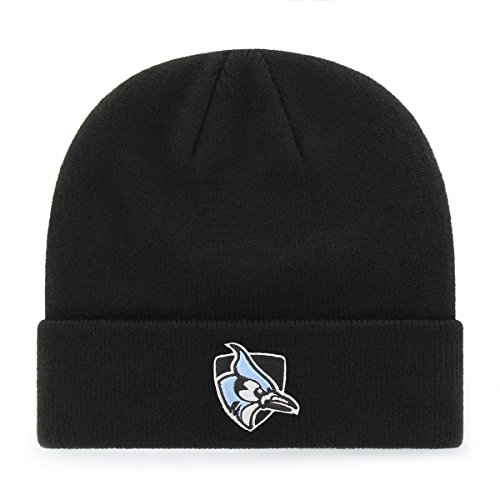 OTS NCAA Johns Hopkins Blue Jays Raised Cuff Knit Cap, Black, One Size (Tee Black Apparel John Adult)