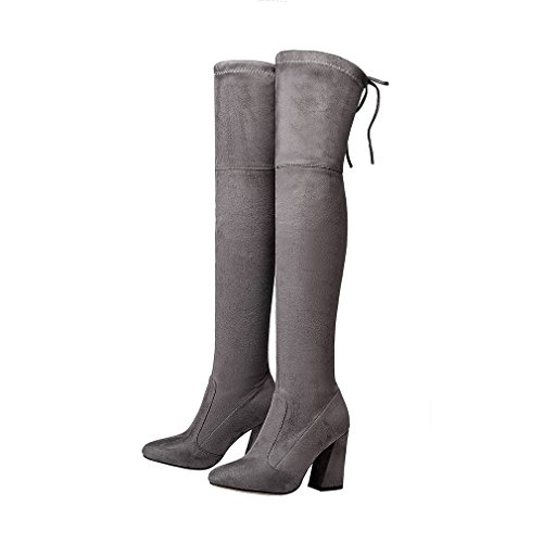 ENMAYER Mujeres Botas de muslo sobre la rodilla Party Wedding Stretch Bloque Botas de tacón medio Gris oscuro#G1