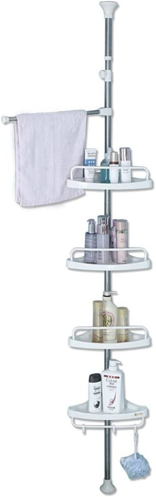 BAOYOUNI 4 Tier Shower Caddy Tension Pole Bathroom Corner Shelf Adjustable Space Saving Storage Rack Bathtub Telescopic Shampoo Soap Organizer with Towel Bar, Ivory
