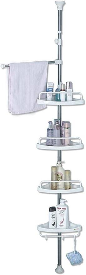 Baoyouni 4 Tier Shower Caddy Tension Pole Bathroom Corner Shelf Adjustable Space Saving Storage Rack Bathtub Telescopic Shampoo Soap Organizer With Towel Bar Ivory Home Kitchen