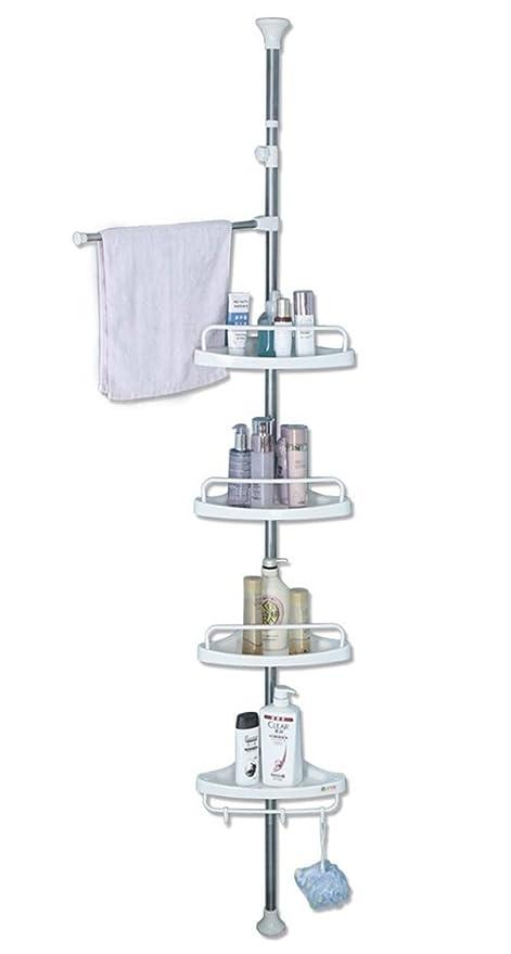 Amazon.com: Baoyouni Bathroom Shower Corner Caddy Tension Pole, 4 ...