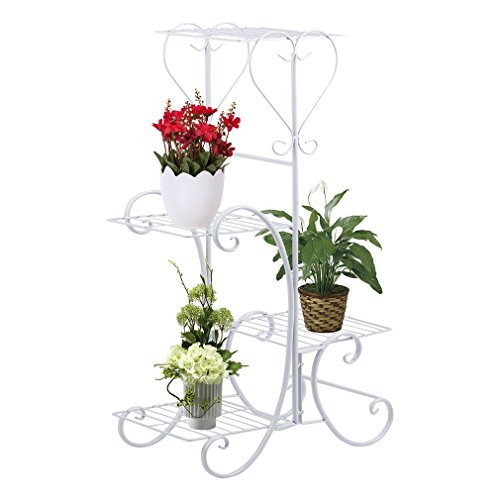 (Wrought Iron 4 Layers Flower Pot Plant Stand Holder by Blackpoolfa | Planter Rack Display Shelf Shelves Organizer Garden Decoration (White))
