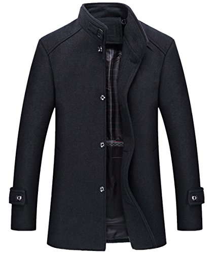 Simple Wool Coat (Aishang Mens Simple Button Stand Collar Single Breasted Wool Pea Coat Jacket Overcoat)