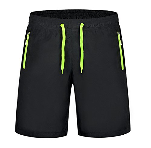 Haodasi Men Fashion Summer Soft Casual Sports Beach Shorts Strand Shorts Swim Shorts Pool Swimwear Bademode Color Black-Green Size XXXL