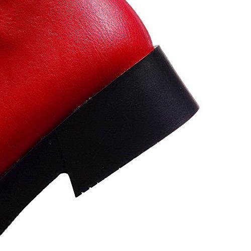 AllhqFashion Mujeres Caña Baja Cordones Mini Tacón Puntera Redonda Botas con Lentejuelas Rojo