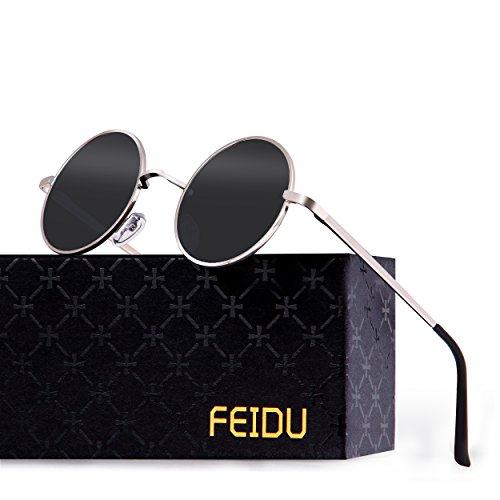 FEIDU-Men Round Retro Polarized Sunglasses Women Vintage Sunglasses FD3013 (Black/Silver, 1.81) (For Men Sunglasses Round)