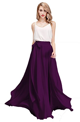 Honey Qiao Women's Chiffon Maxi Skirt Bridesmaid Dresses Long High Waist Floor/Ankle Length Elastic Woman Dresses with Belt Purple