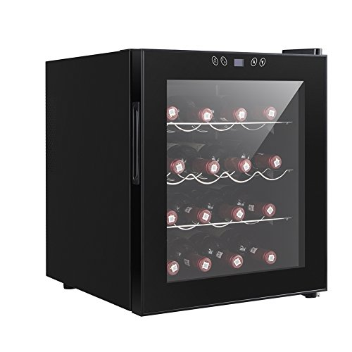 Smad Freestanding Single Zone Red Wine Chiller, Black,16 Bottles – Hinge on Right