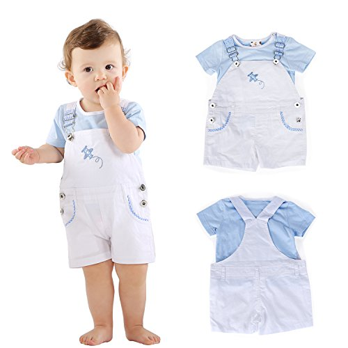 Bebone Baby Boys Girl Short Sleeve Cotton Tops+Overalls Outfit (White,9-12M)
