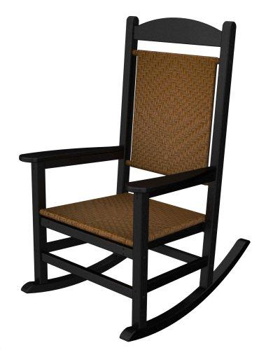 Presidential High Back Chair - POLYWOOD R200FBLTW Presidential Woven Rocker, Black/Tigerwood