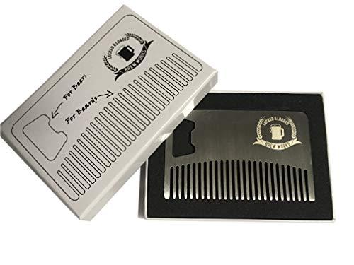 Beard Comb Bottle Opener Stainless Steel Wallet-Sized Men's Grooming Tool
