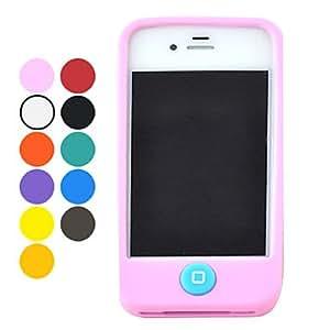 Procesamiento de dos días -Color del caramelo del gel de silicona caso protector de medio completo para iPhone 4/4S (colores surtidos),Red