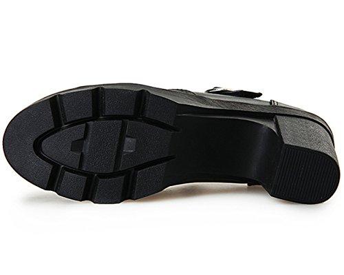 DADAWEN Women's Classic T-Strap Platform Mid-Heel Square Toe Oxfords Dress Shoes Black US Size 9 by DADAWEN (Image #7)