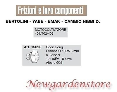Embrague 3 discos 12 x 15ev motocultor 401 402 403 Bertolini ...