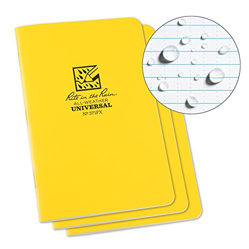 Rite in the Rain All-Weather Stapled Notebook, 4 5/8 x 7, Yellow Cover, Universal Pattern, 3 Pack (No. 371FX)