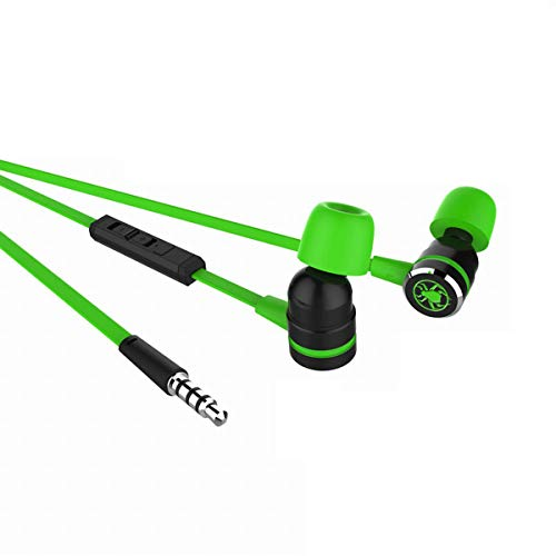 3.5mm in-Ear Wired Gaming Headset Noise Canceling Microphone for Computer, iPhone, Samsung, Laptop, PSP,Green