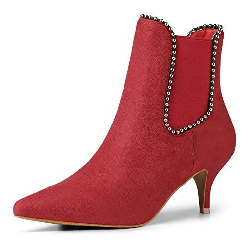 Toe Booties Heel Pointed Red Kitten Chelsea Allegra Beaded K Women's Ankle qt6BC6