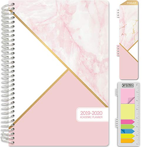 HARDCOVER Academic Year 2019-2020 Planner: (June 2019 Through July 2020) 5.5x8 Daily Weekly Monthly Planner Yearly Agenda. Bonus Bookmark, Pocket Folder and Sticky Note Set (Pink Marble Triangles)