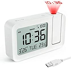 TedGem Projection Alarm Clock for Bedrooms, Digital Alarm Clock with Large 3.8 LED Display & Dimmer, 180° Projector, USB Charger, 12/24 H, DST, Snooze, Desk Wall Ceiling Clock for Kid Elderly