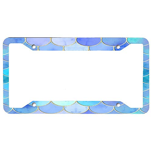 - Custom Auto Frames Decorative License Plate Frame, Car Licenses Plate Cover for Front or Back License Tag Aluminum Metal License Tag Border [Aqua Pearlescent & Gold Mermaid Scales]