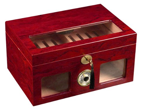 Cigar Humidor - Red Wood Color Clear Top and Front View Display Storage Box by Unknown