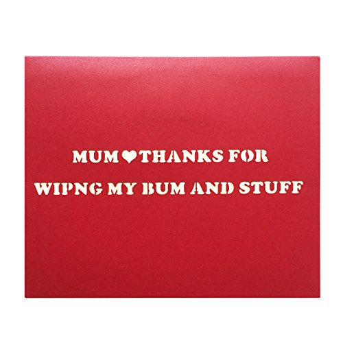 Funny Birthday Card for Mum, 3D Pop up Rose Mother's Day Greeting Card - MUM, THANKS FOR WIPING MY BUM AND (Mother Mum)