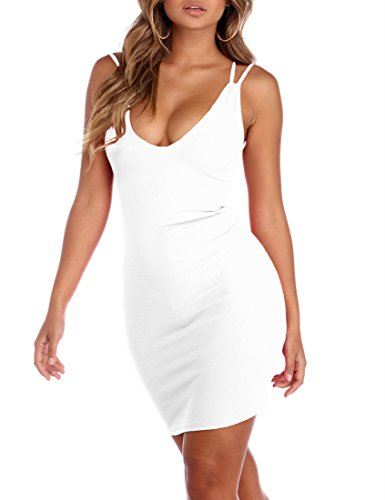 Mokoru Women's Sexy Spaghetti Strap Backless Sleeveless Bodycon Club Mini Dress, Large, White