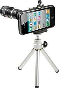Rollei iTele - Teleobjetivo para iPhone 4G (zoom 8x, 1 objetivo telescópico, 1 mini trípode, 1 carcasa para iPhone 4G, soporte, pañuelo de limpieza y manual de instrucciones en 16 idiomas)