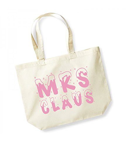 Mrs Claus - Large Canvas Fun Slogan Tote Bag Natural/Pink