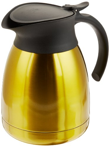 - Genuine Joe GJO11951 Classic Vacuum-Insulated Carafe with Flip-top Lid, 1.2L Capacity, Stainless Steel/Gold
