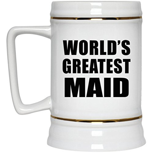 World's Greatest Maid - 22oz Beer Stein Ceramic Bar Mug Tankard - Gift for Friend Colleague Retirement Graduation Mother's Father's Day Birthday Anniversary -