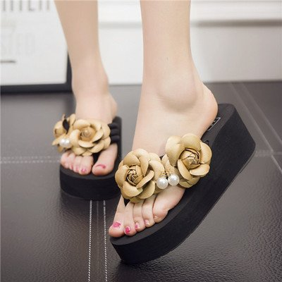 myldy Ladies' Sandals, High Heels and Thick Bottom Sandals,Thirty-Eight,Golden