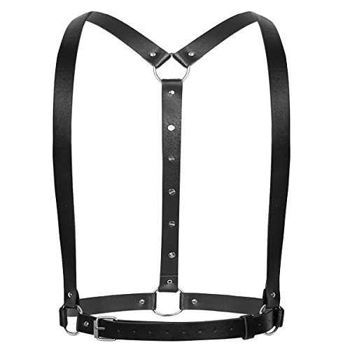 Freebily Men's Faux Leather Chest Chest Bulldog Harness Straps Club wear Cosplay Costumes #7 Black One -