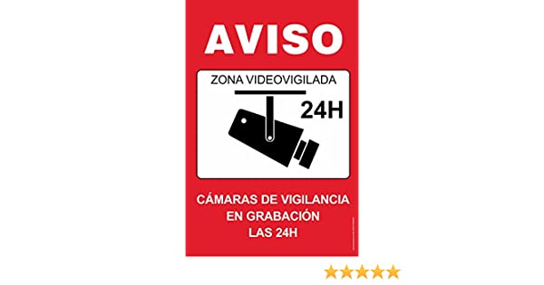 Cartel resistente PVC - ZONA VIDEOVIGILADA 24H(rojo) - Señaletica de aviso - ideal para colgar y advertir al transeúnte: Amazon.es: Industria, ...