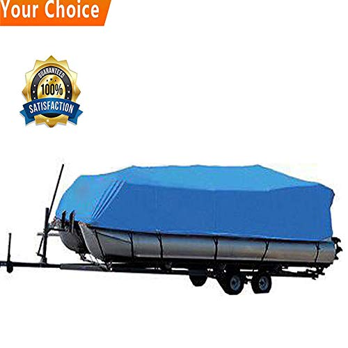 Jon Boat Package (600D Trailerable Oxford Fabric Waterproof Heavy Duty Runabout Boat Cover for 17 to 24 ft Boat with Carrying Bag [US Stock] (Square, 21-24ft))