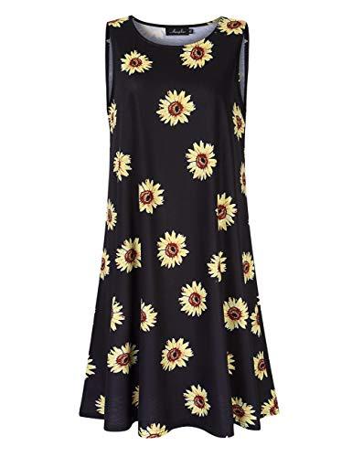 (AMZ PLUS Womens Plus Size Casual Boho Sundress Summer Sleeveless Dresses Daisy 3XL)