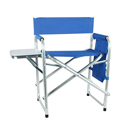 Domary Portable Director's Chair Heavy Duty Steel Folding Chair with Side Table & Side Storage Bag, Supports 300 lbs by Domary