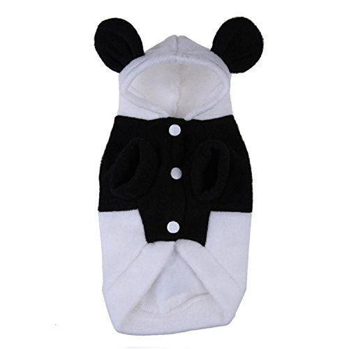 spyman Fashion NEW Womens Clothes For Pets Coat Outwear Costume Clothing Fleece Panda Ear Hoody Clothes Pullover Coat Black XL -