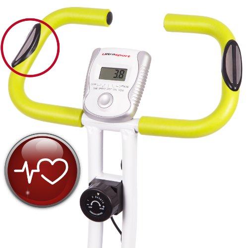 Ultrasport F-Bike 150 - Bicicleta estática con sensores de pulso de mano plegable, color plata / verde 99.99€
